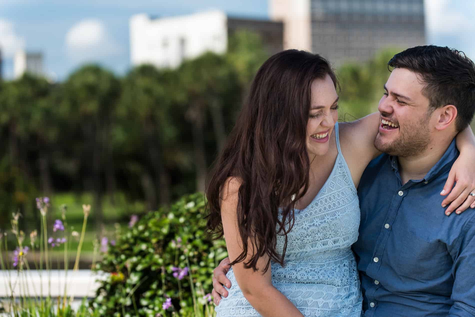 Because Pictures in Downtown Tampa for their Engagement