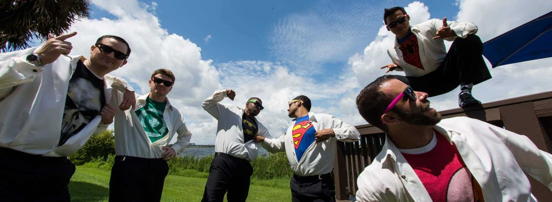 Groomsmen Superheros at a Metrowest Golf Club Wedding