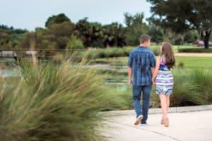 Couple walking in Baldwin Park