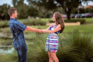Couple dancing near Lake Baldwin