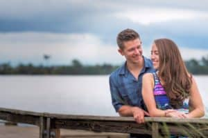 Summer storm coming during engagement session in Baldwin Park