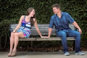Couple laughs at each other in Baldwin Park