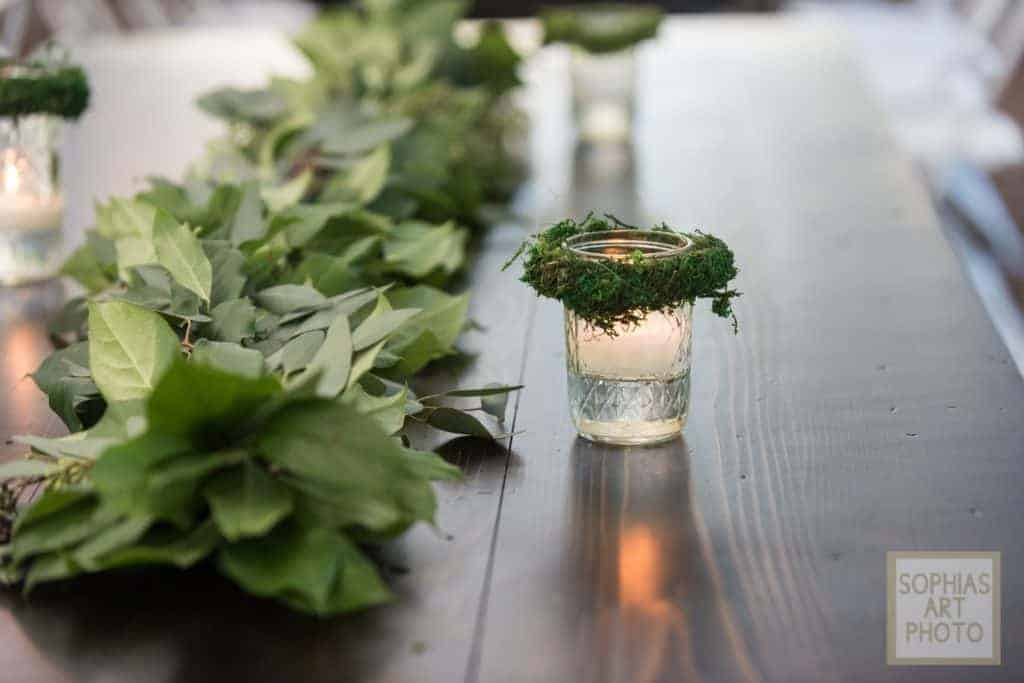 Delicate Candle and Rustic Garland Centerpiece