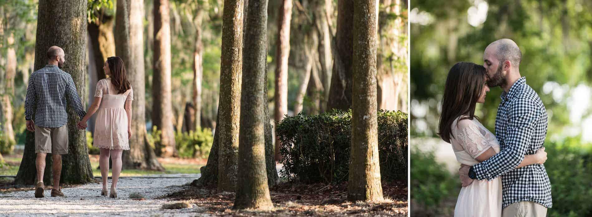 Engaged couple at Kraft Azalea Park walking by the tall trees