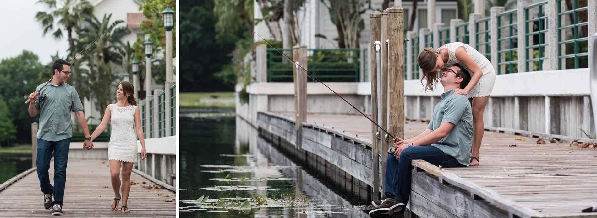 Engaged couple fishing in front of the Bohemian Celebration Hotel at Celebration, Florida