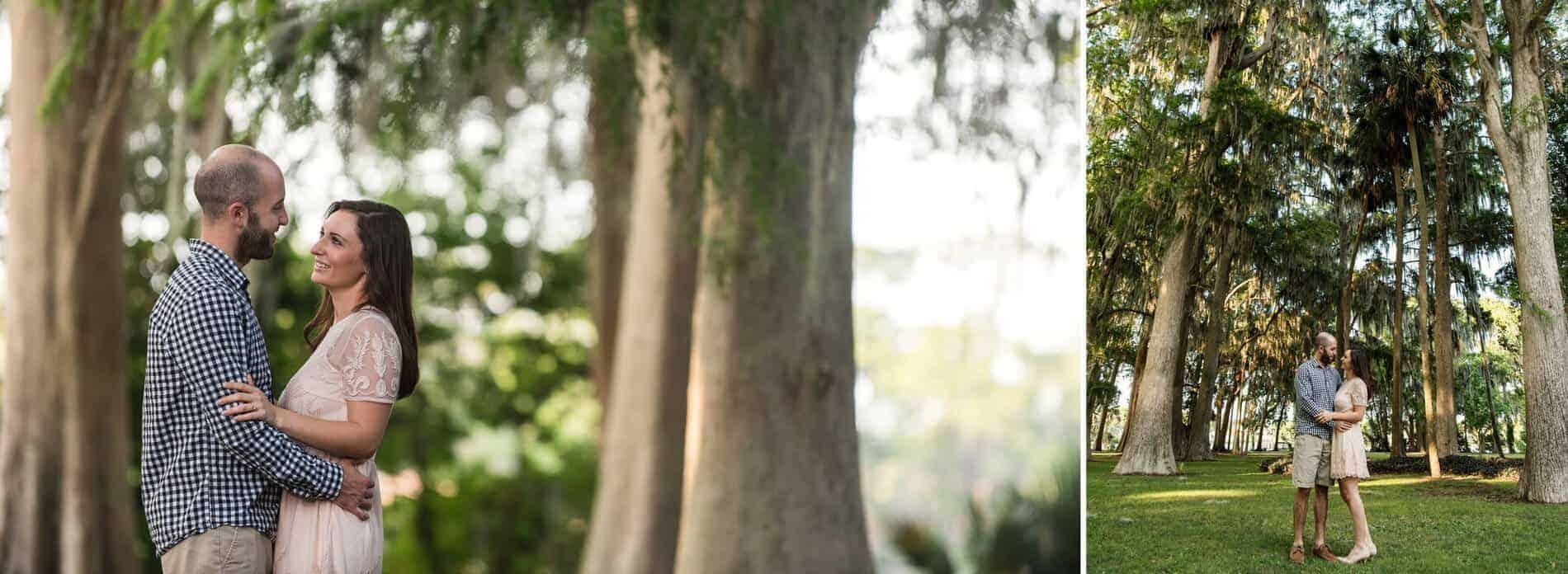 Engaged couple at Kraft Azalea Park by the tall trees