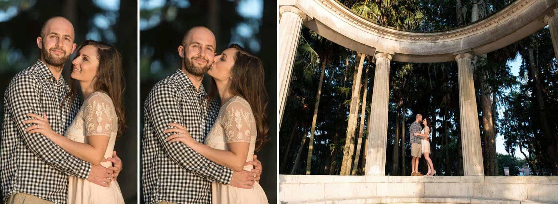 Engaged couple at Kraft Azalea Park at sunset