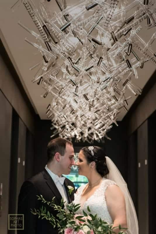 Bride and Groom by elevators at Citrus Club Wedding