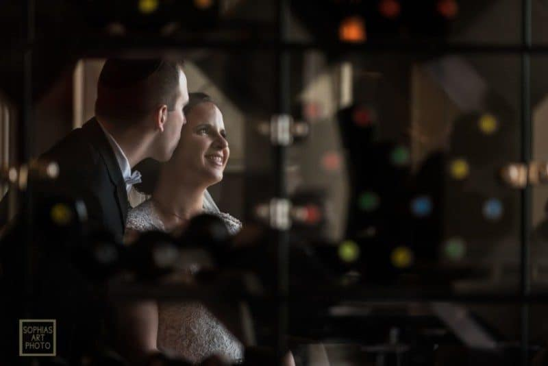 Bride and Groom in the Wine Room at the Citrus Club