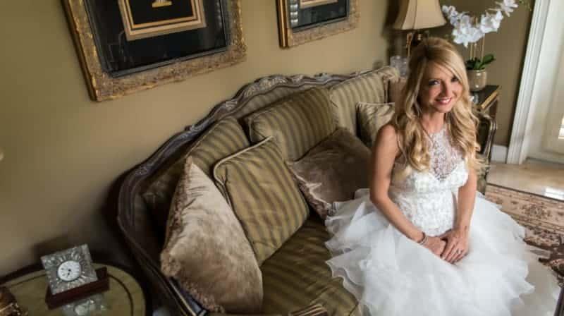 Bride getting ready for her Citrus Club Wedding