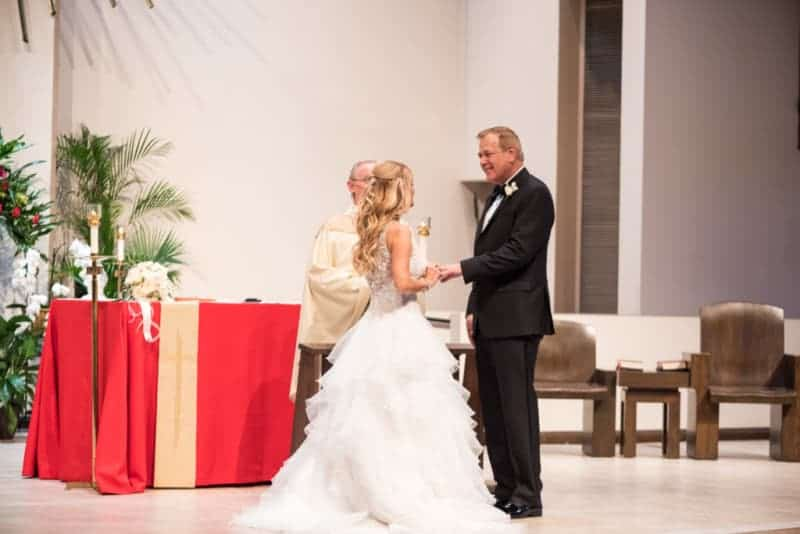Bride and Groom at St Margaret Mary Catholic Church
