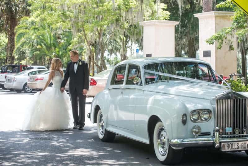 Bride and Groom with a Classic Limo at Kraft Azalea Park