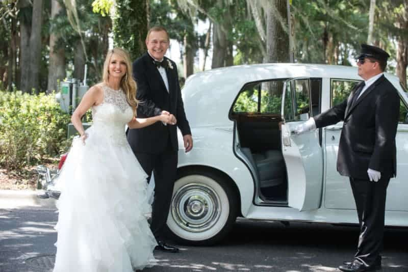 Married Couple with a Classic Limo at Kraft Azalea Park