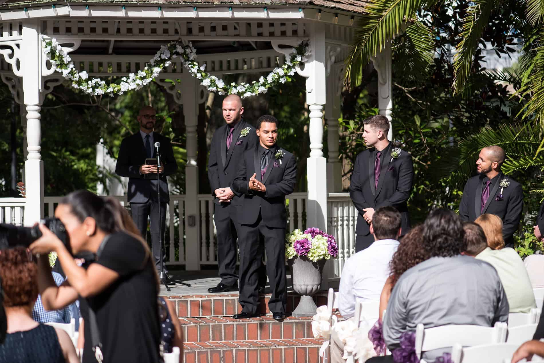 Groom waits for his bride at a Dr Phillps House Wedding