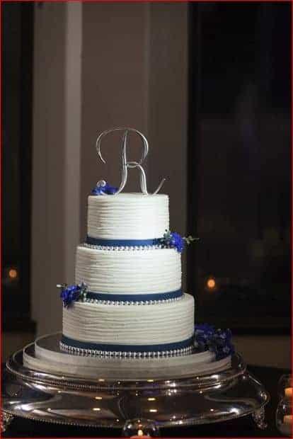 Top Wedding Cake at a Evening Citrus Club Wedding Reception