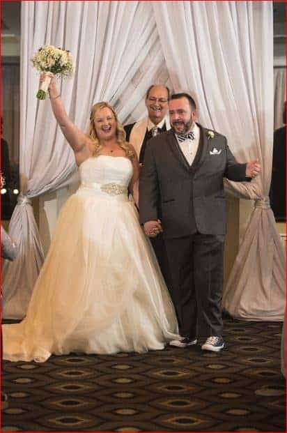 Bride and Groom celebrate at a Citrus Club Wedding