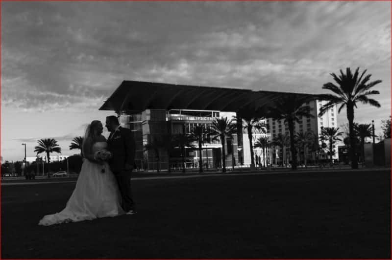Dramatic Black and White Couples Portrait at Dr Phillips Center