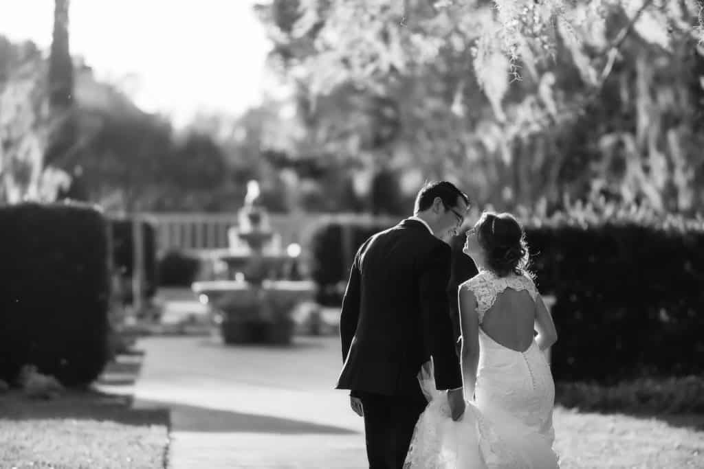 Groom and Bride in love at Leu Gardens in Orlando
