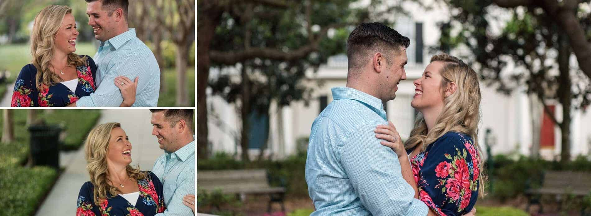 Couple in front to the houses at Celebration Florida during their engagement session