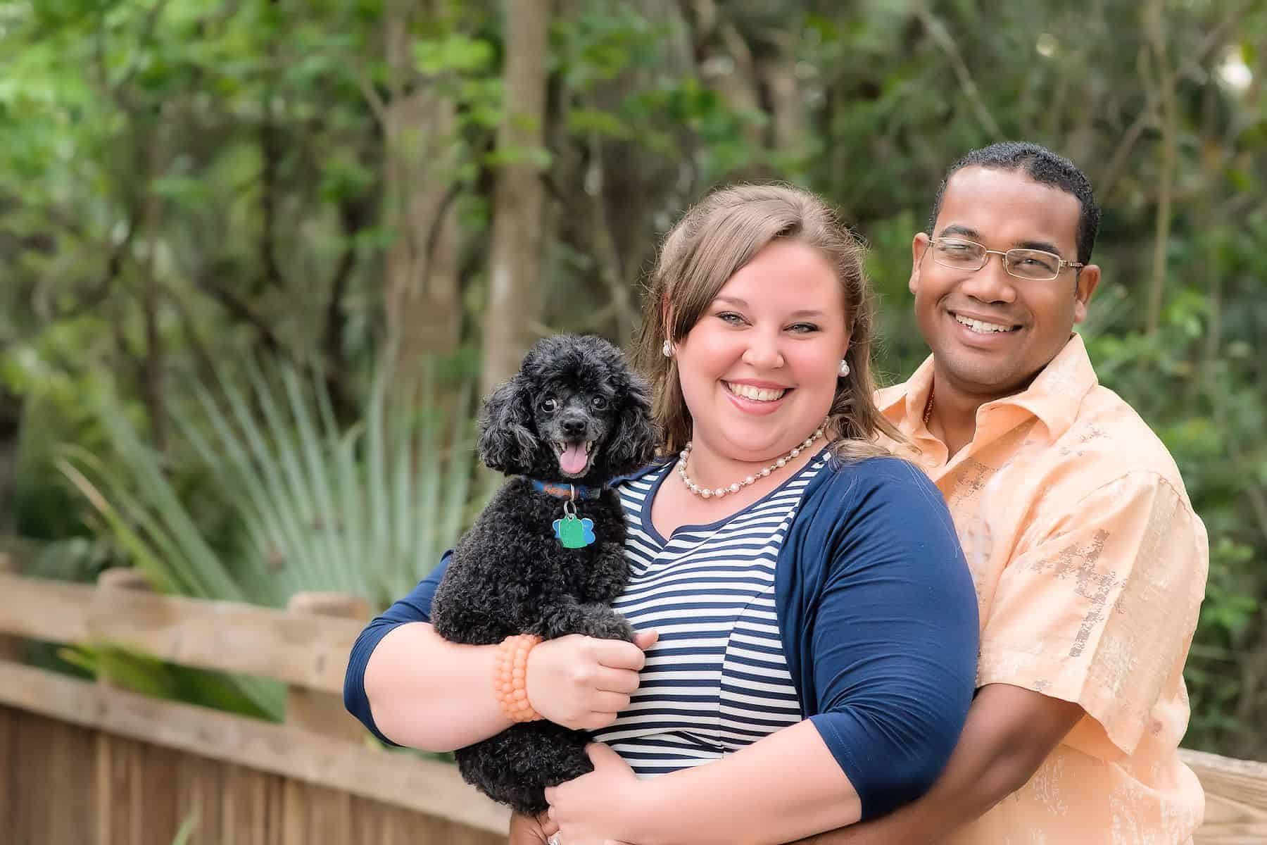 Couple with their dog for their save the date photos
