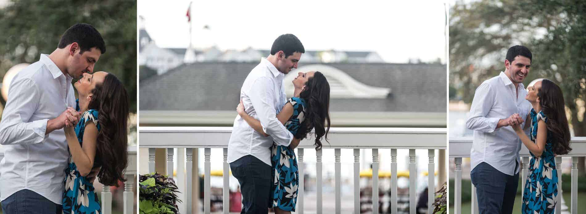 Couple at the balcony of the hotel at Disney Boardwalk