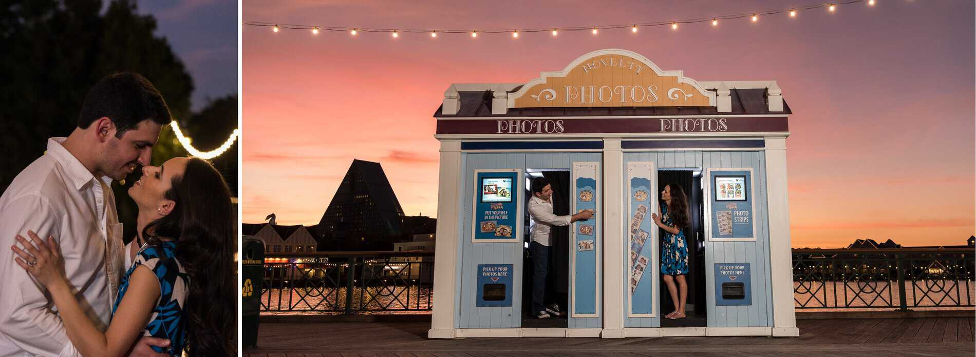 Couple at the Photo Booth during sunset at Disney Boardwalk