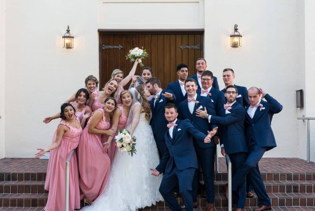 Fun Shot of a Bridal Party at Heathrow Country Club Resort Wedding