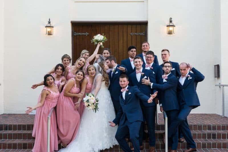 Fun Shot of a Bridal Party at Heathrow Country Club Resort Wedding