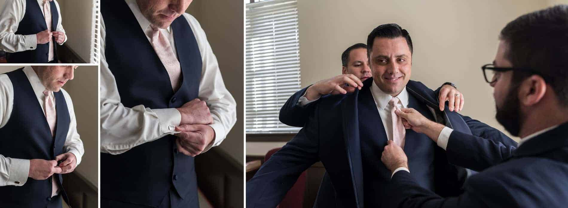 Groom gets ready for his wedding
