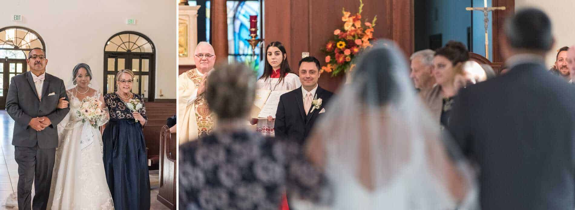 Groom sees his Bride for the first time at Corpus Christi Catholic Church