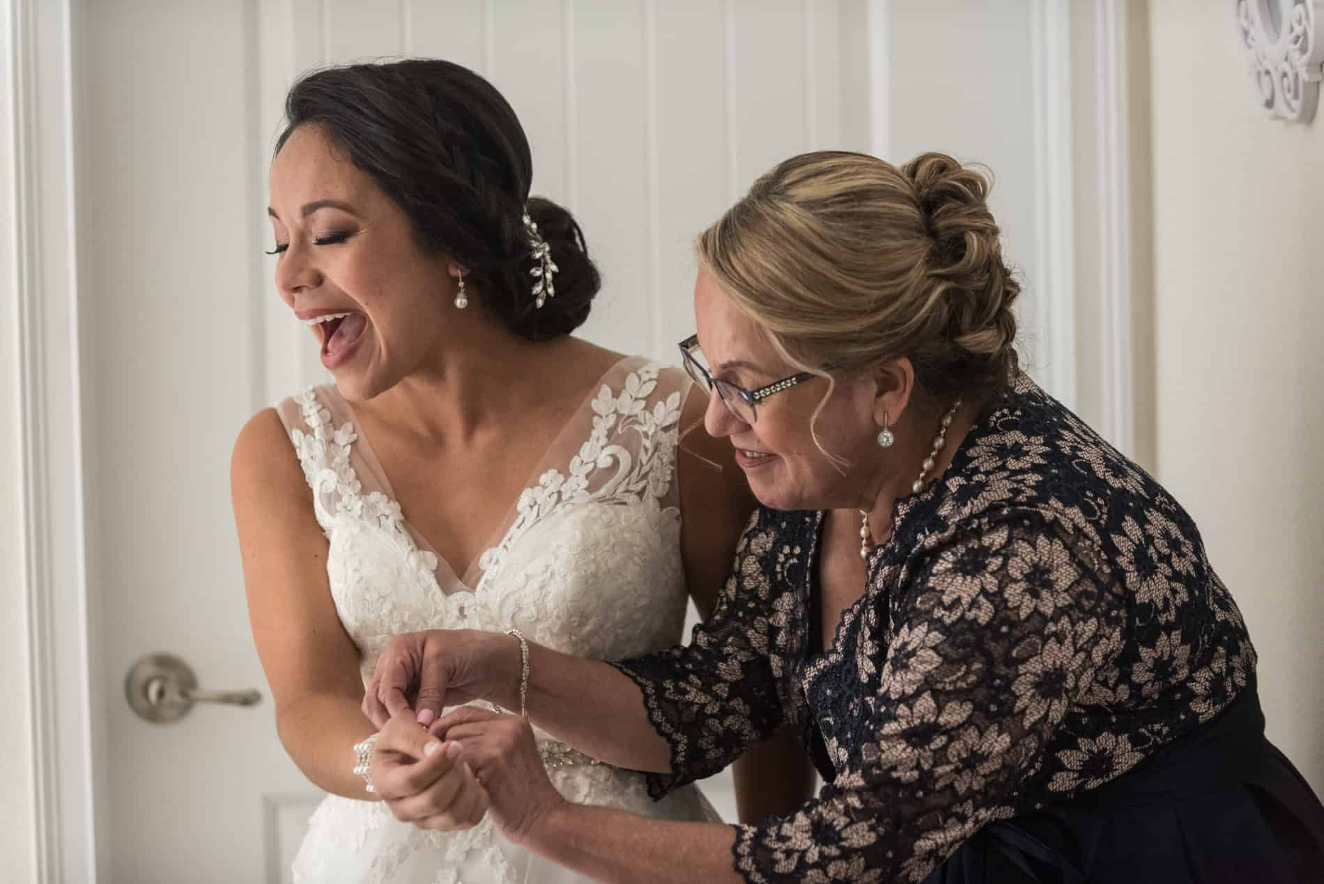 Bride and her mother share a emotional funny moment