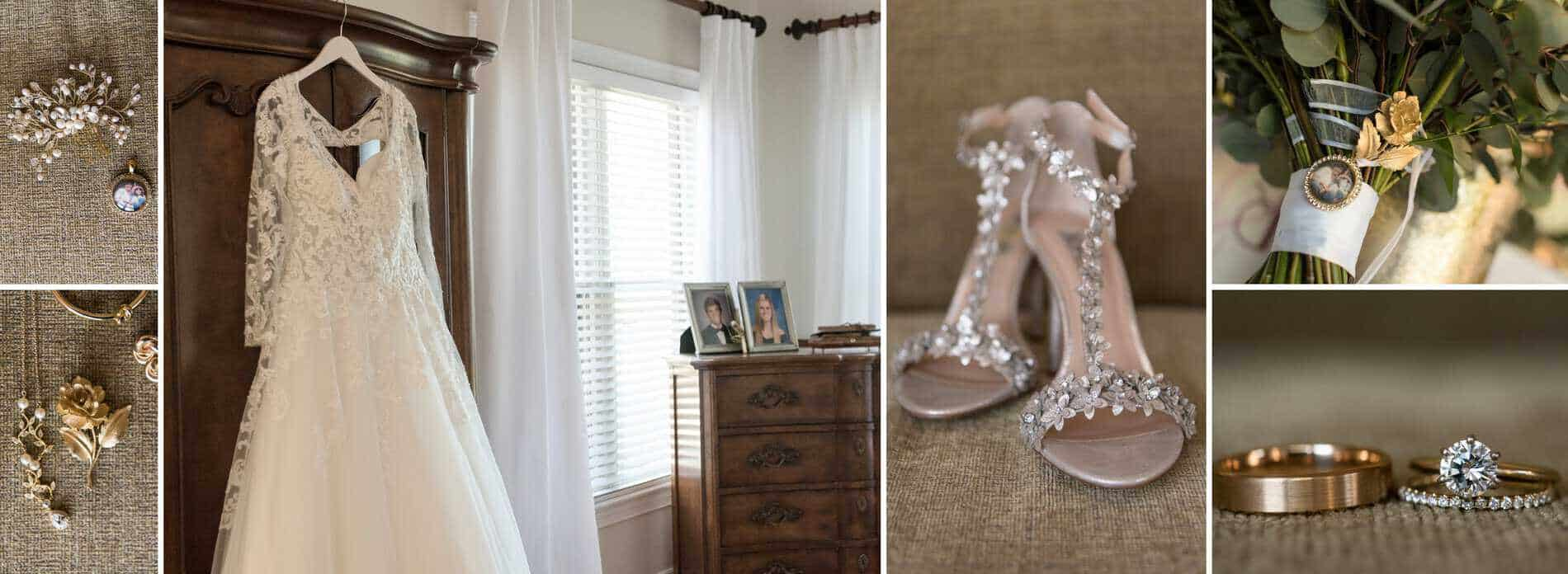 Wedding shoes, dress, rings and flowers
