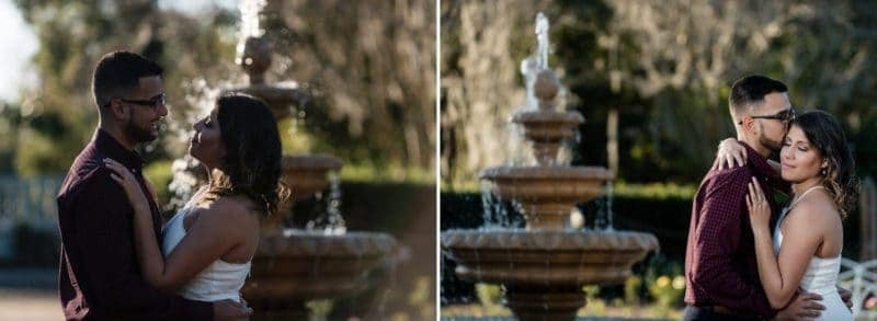 Beautiful Fountain in Engagement Photos