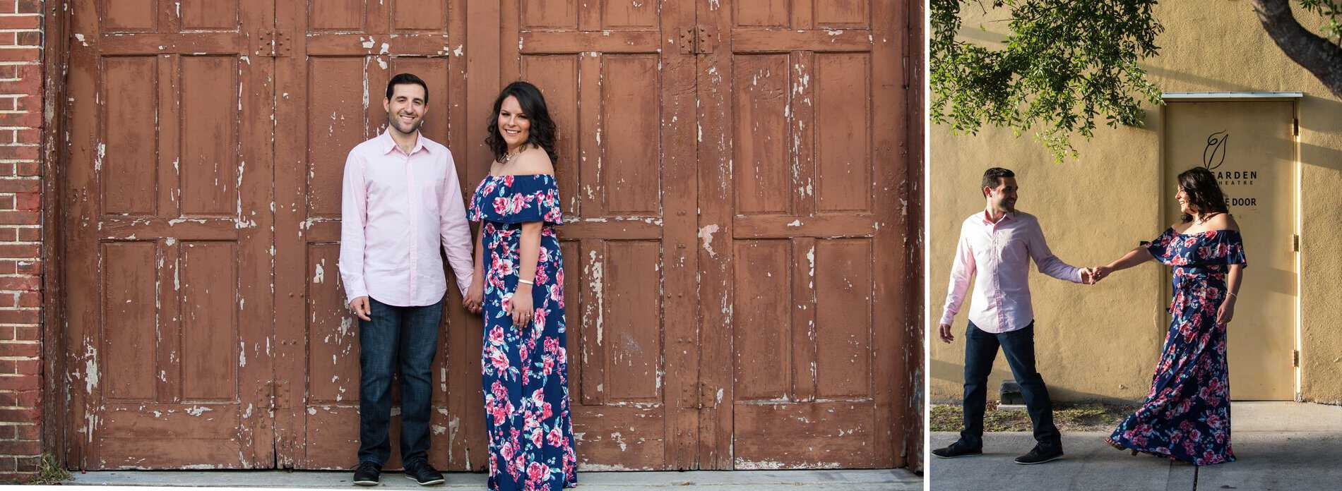 Couple enjoy by the Garden Theatre in Winter Garden during their engagement photo session.