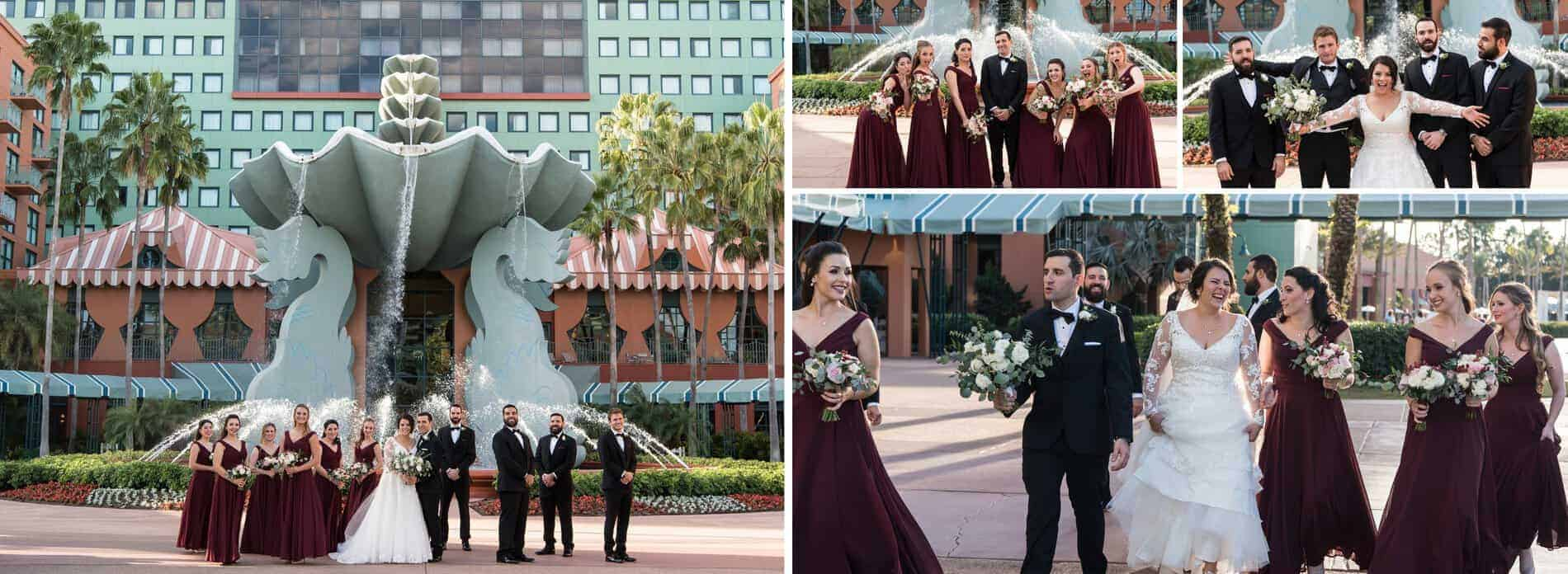 Fun Bridal Party Photos at Disney Swan and Dolphin