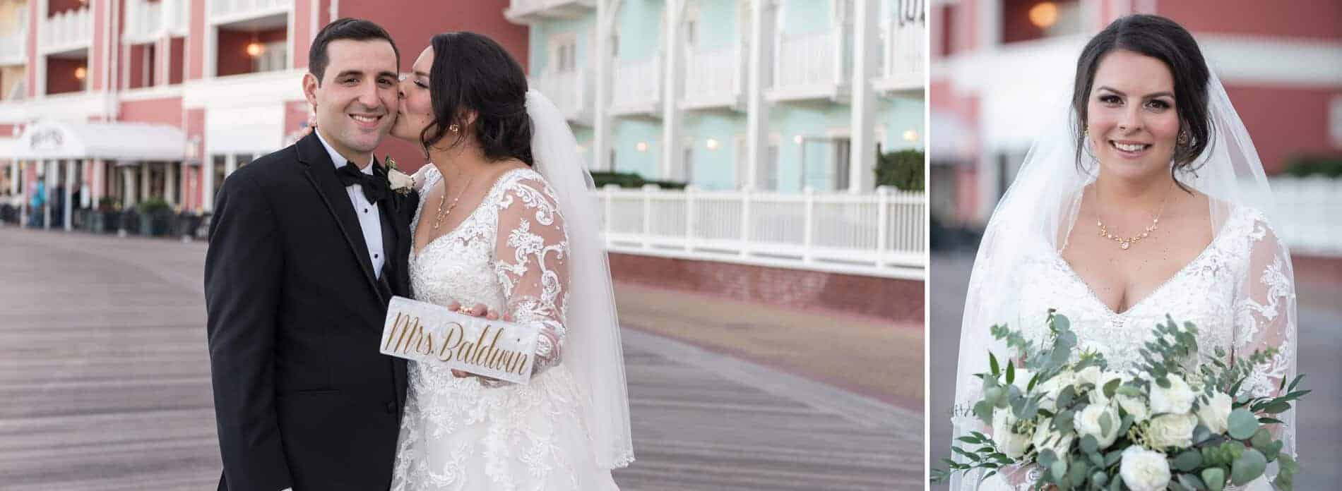 Bride and Groom Portraits at Disney Boardwalk Resort