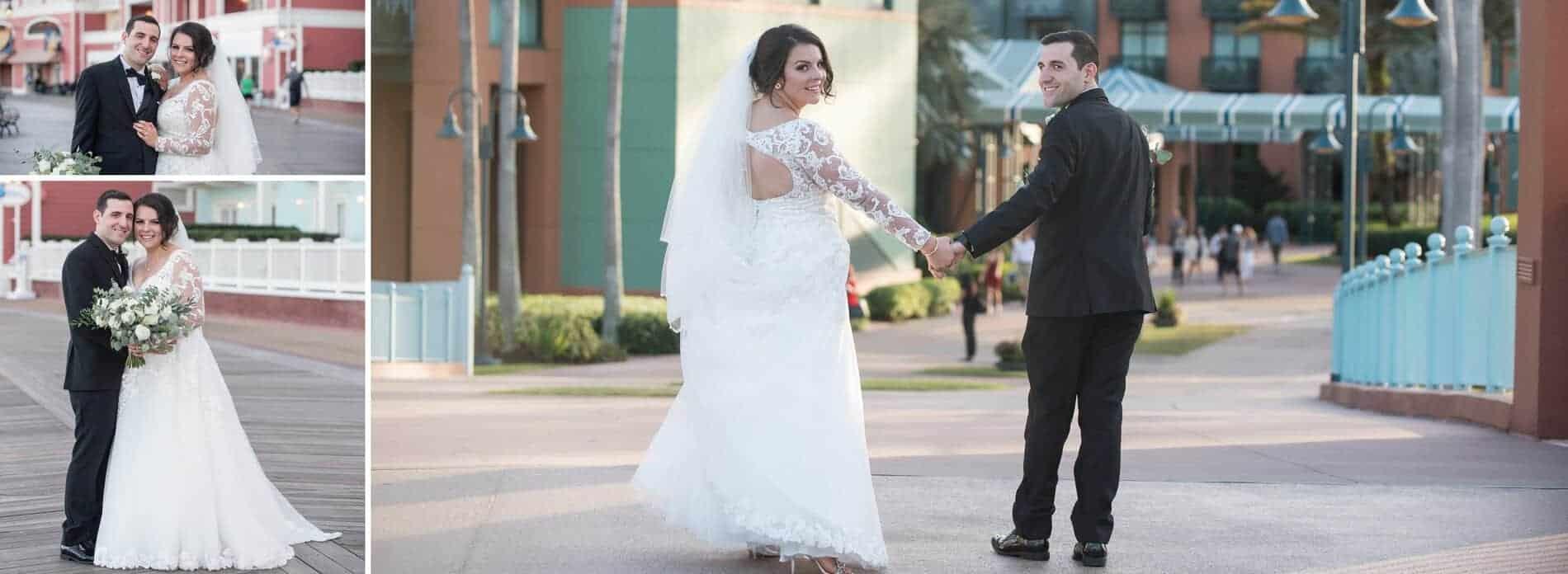 Bride and Groom walking back from Disney Boardwalk Resort