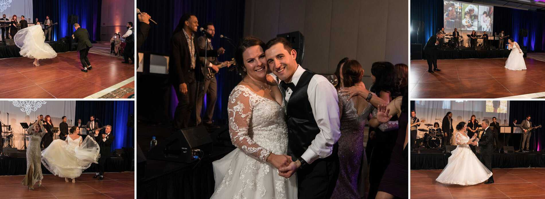 Bride and Groom dance for the first time at Disney Swan and Dolphin Ballroom