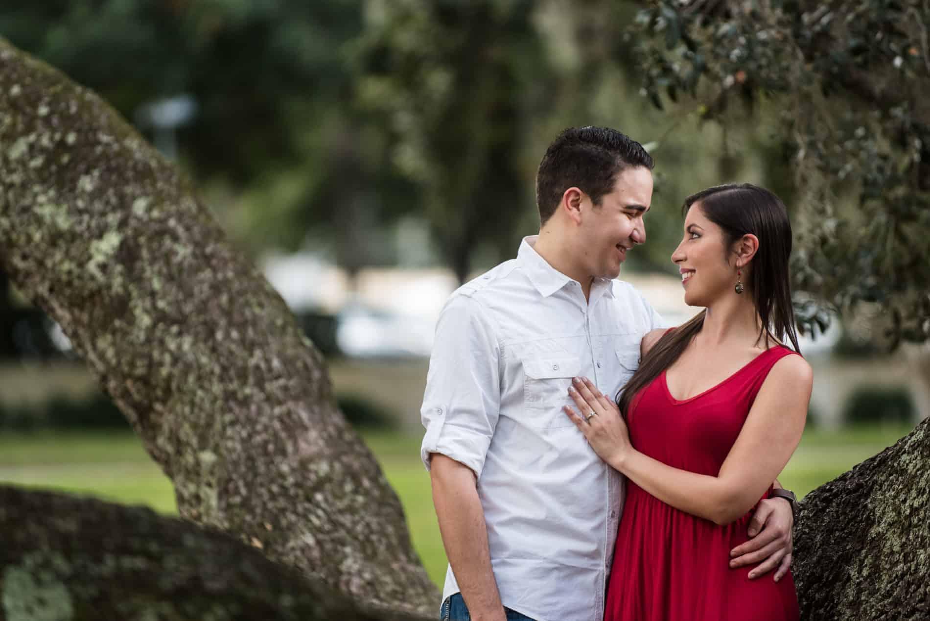 Couple enjoys a Lake Eola Engagement Experience