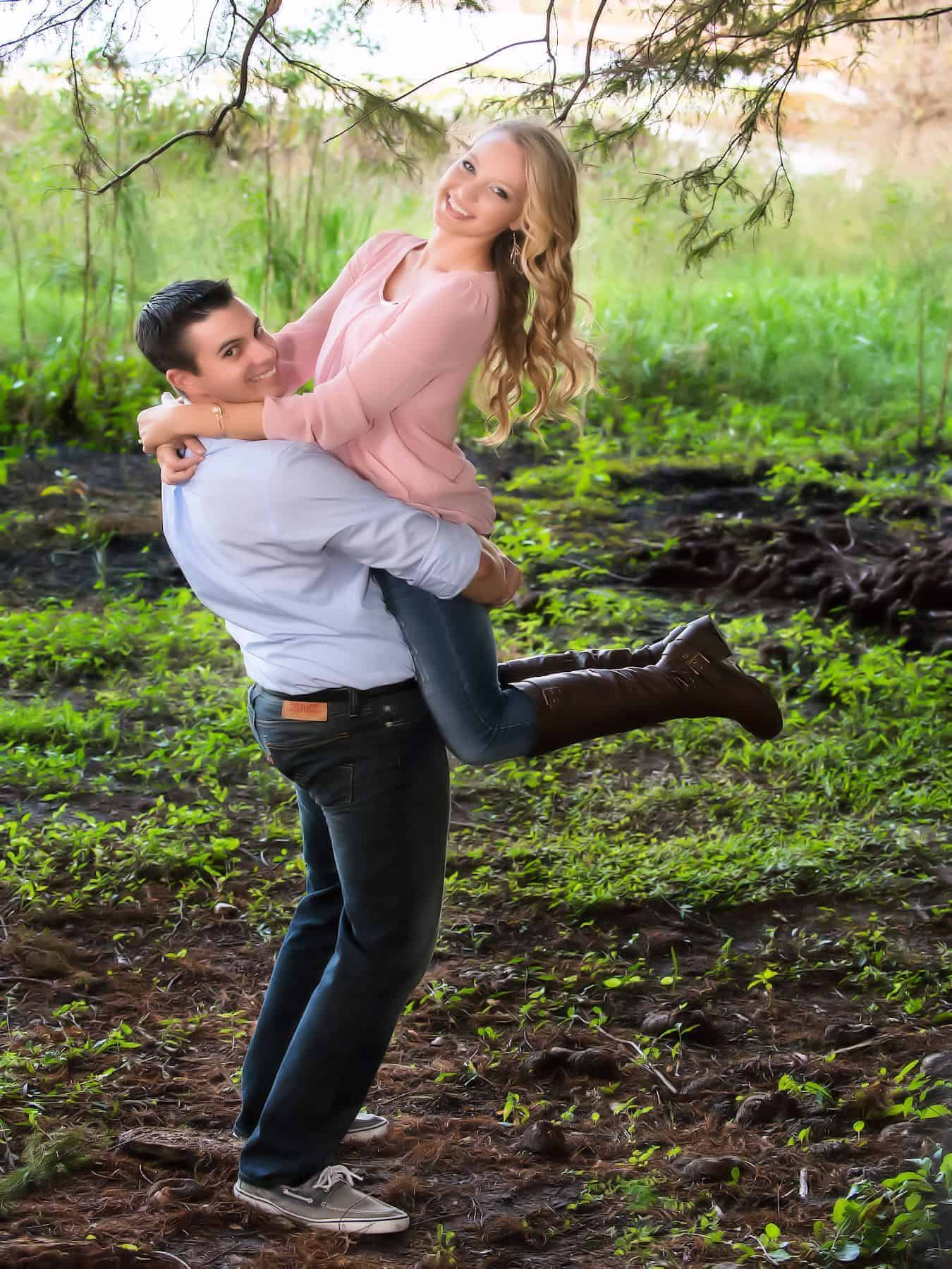 excited engagement couple at Bill Frederick Park