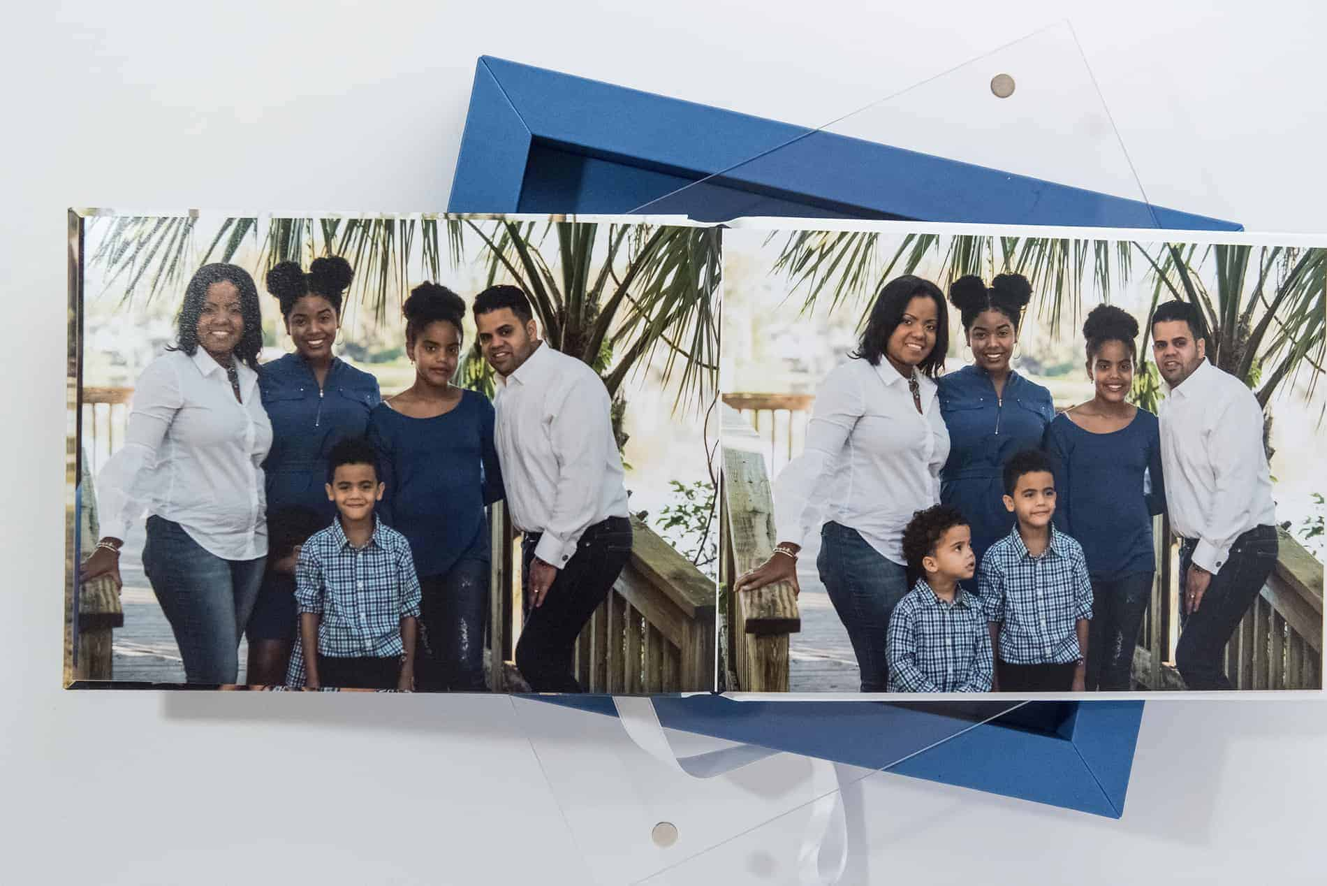 Blue and White Flat Family Photo Albums by Sophias Art Photo