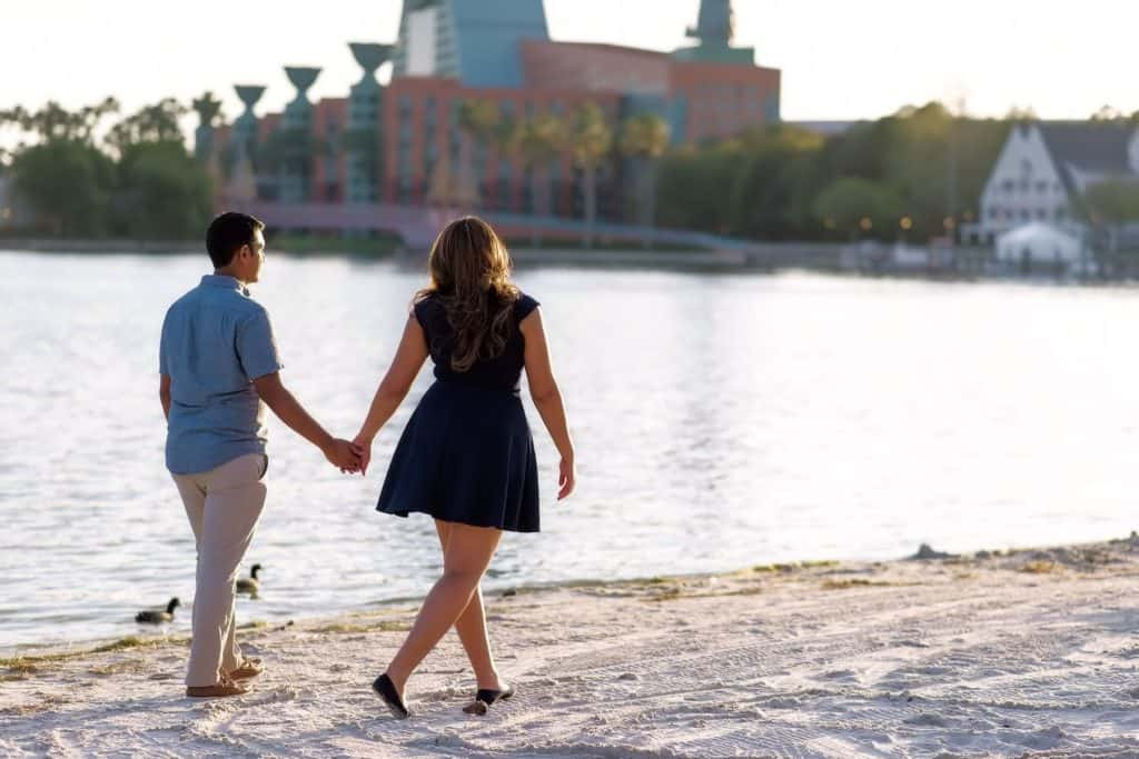 Best Engagement Photo Spots in Orlando Disney Boardwalk Engagement Experience Stephanie and Nelson