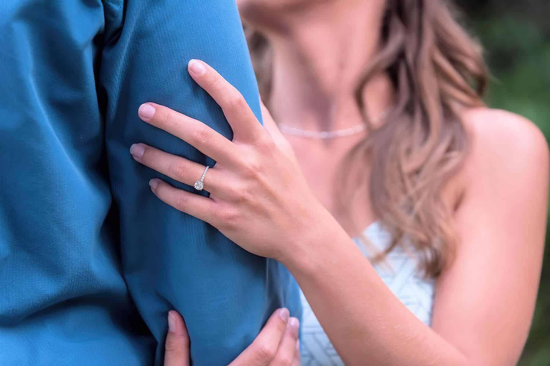 Closeup of engagement ring in Celebration Florida