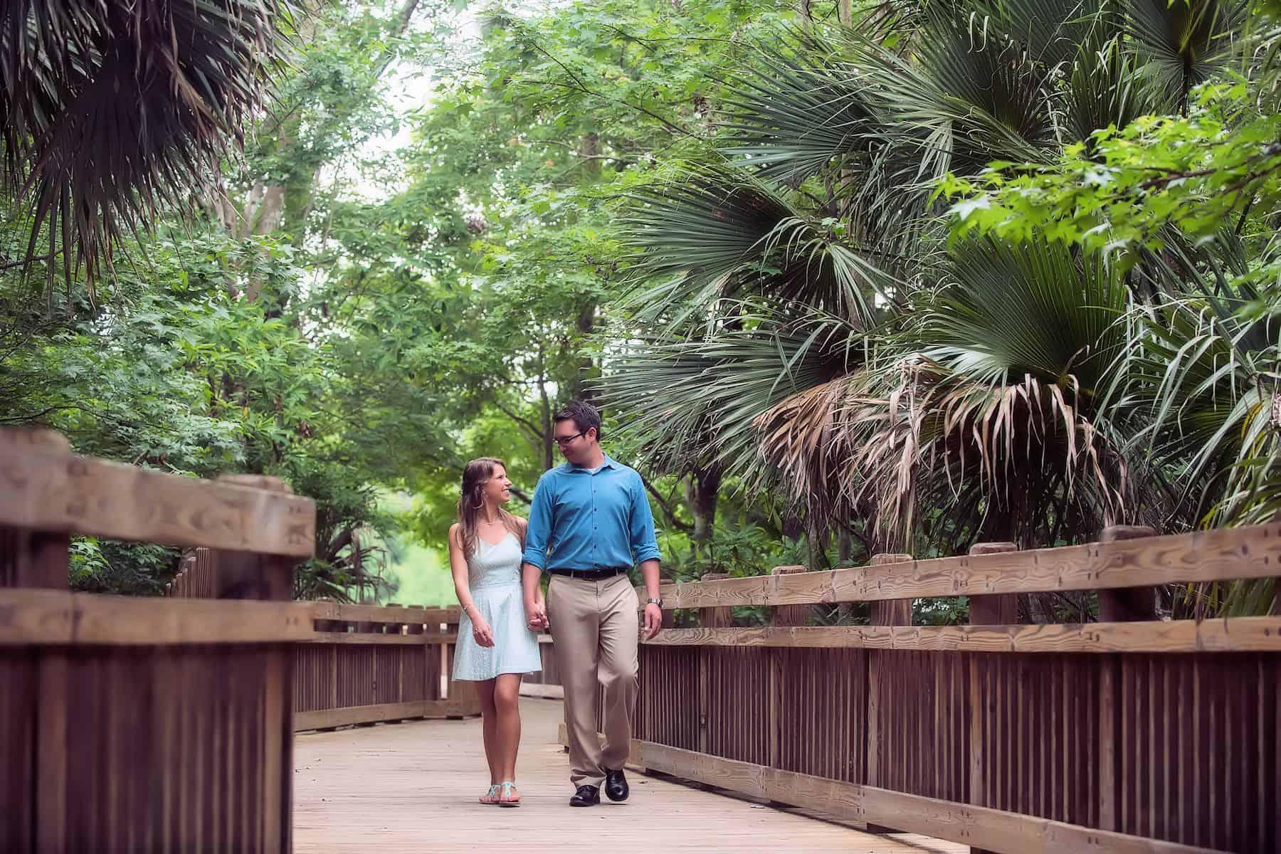 Couple walking through Celebration Florida