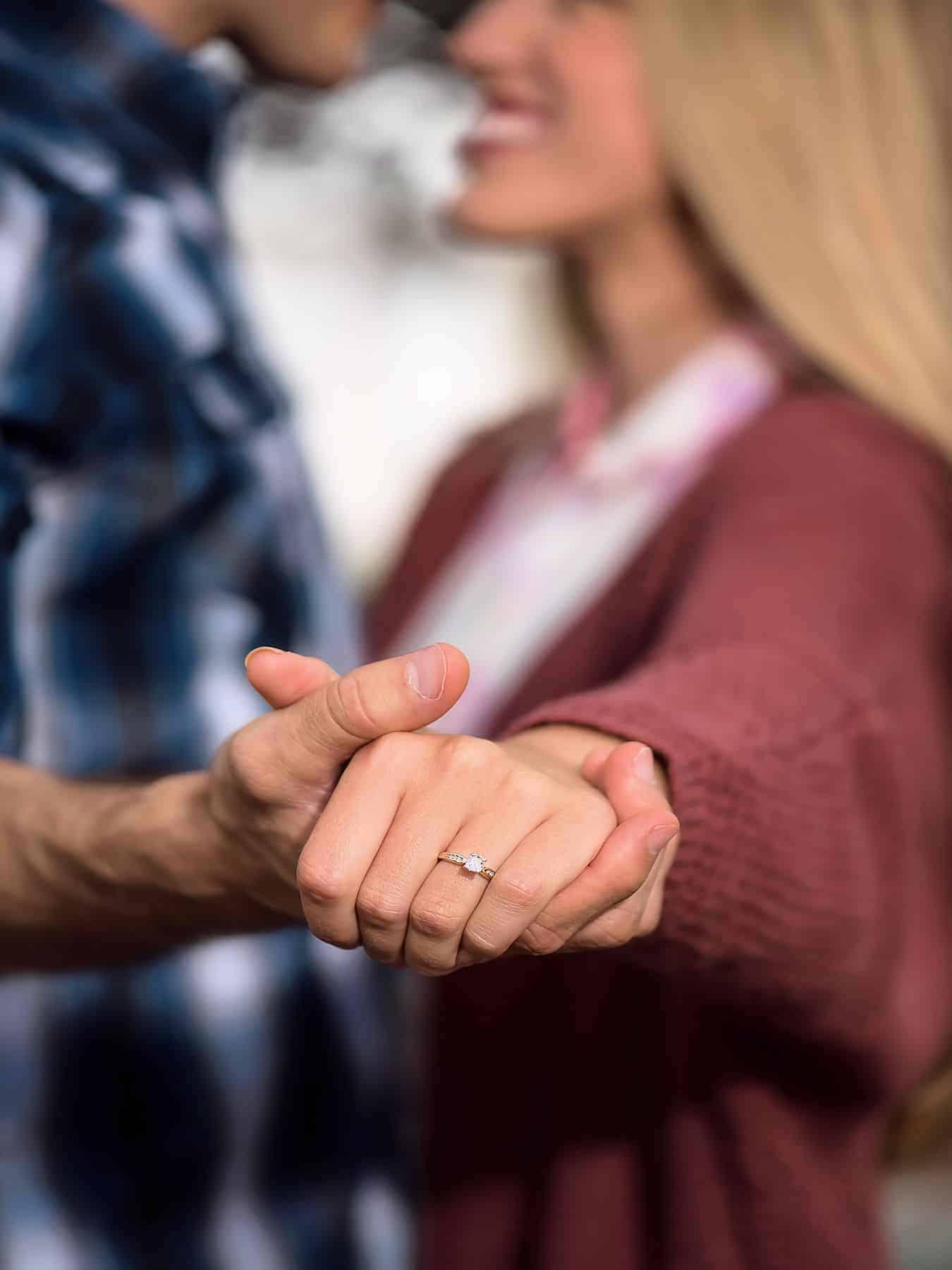 Engagement Ring Closeup outdoors