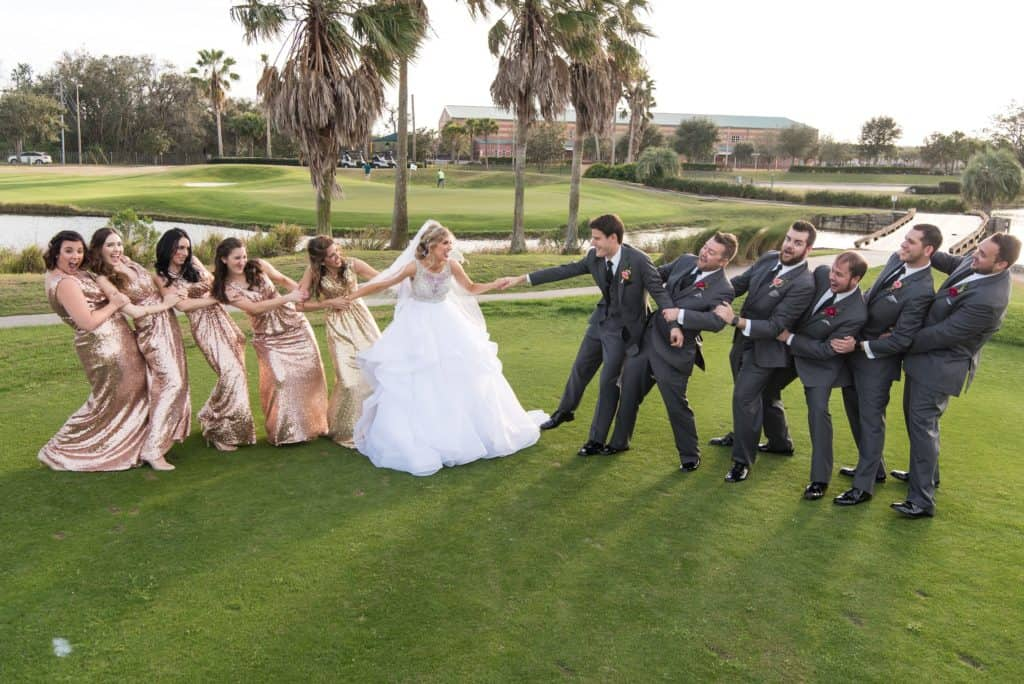 Bridal Party having fun at The Best Wedding Venues Orlando has to offer - Stoneybrook West Country Club