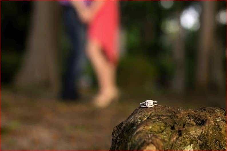 Ring and couple at Kraft Azalea Garden