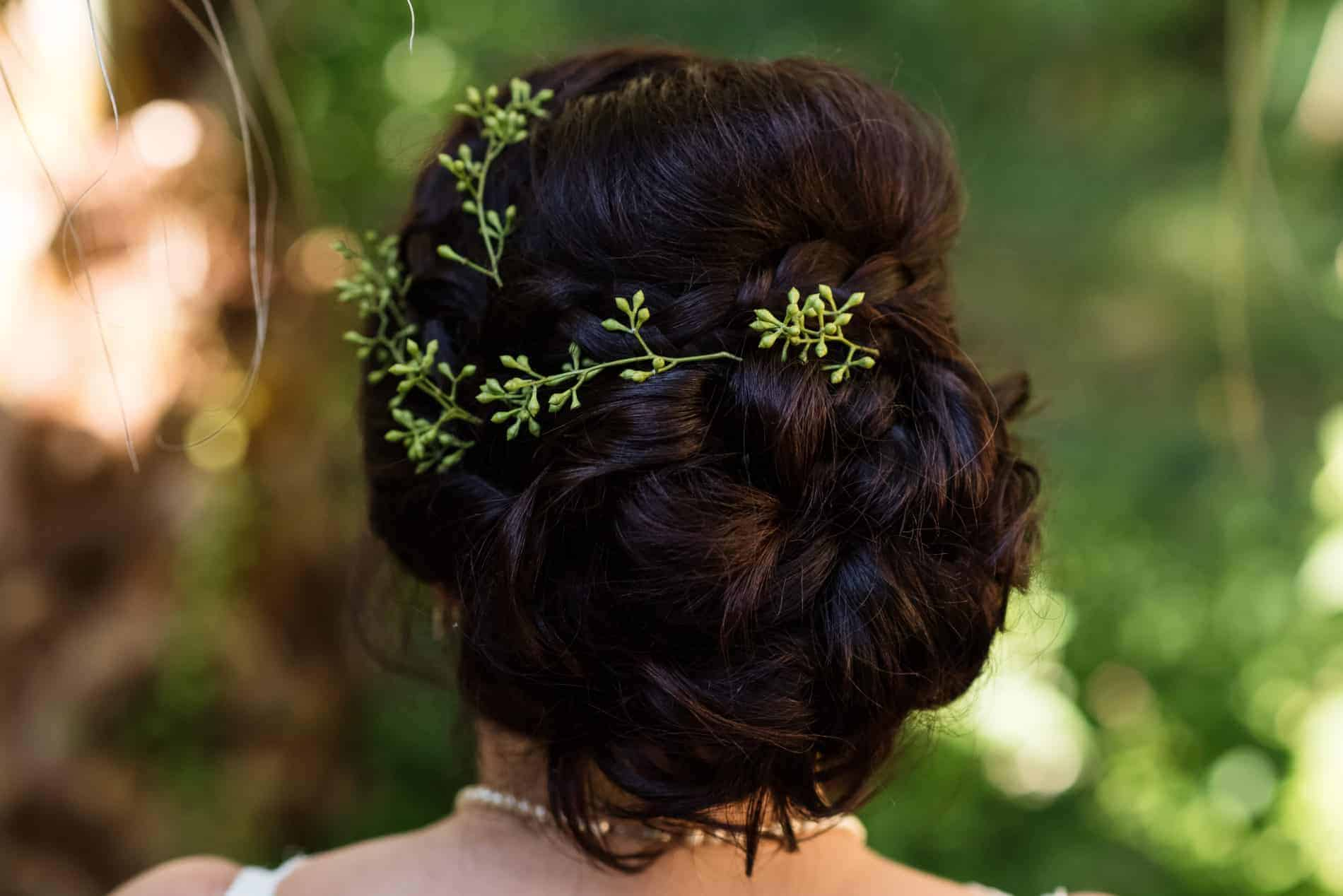 Simple accent piece in bride hair at Florida wedding for example