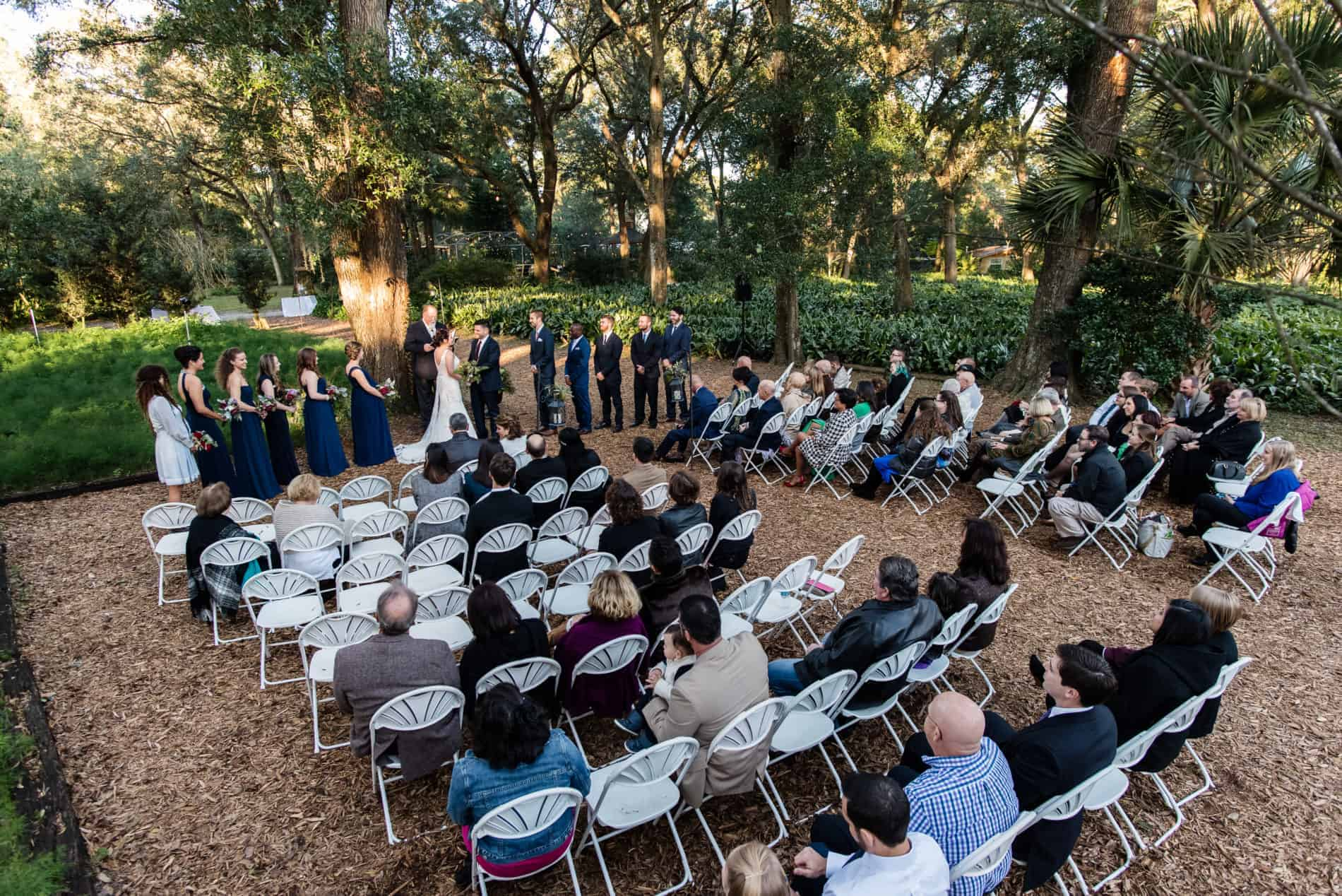 Natural Wedding at outdoor ceremony in Harmony Gardens