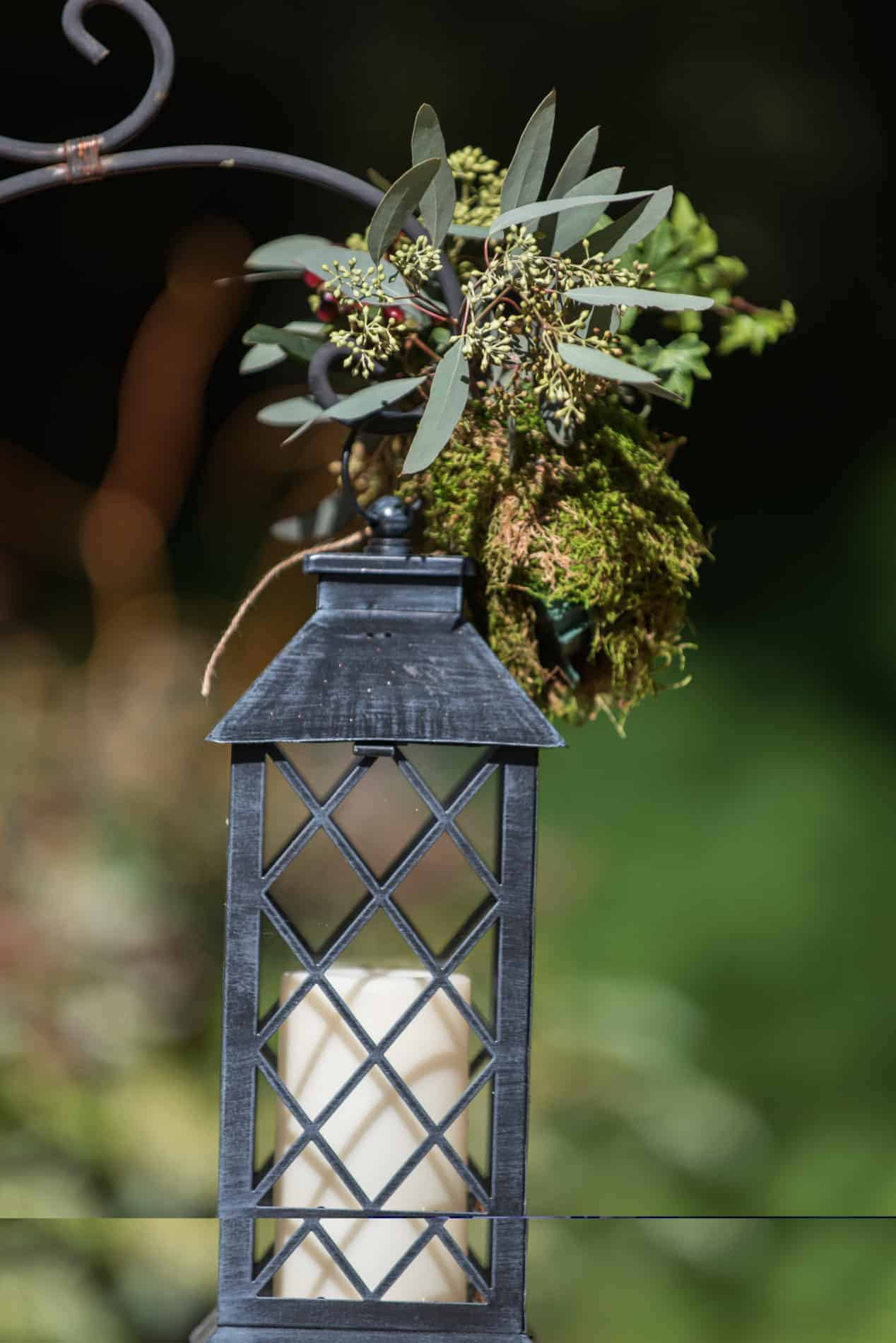 Gray Lantern at a Rustic Outdoor Wedding
